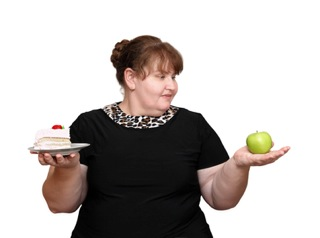 Woman undecided on what to eat